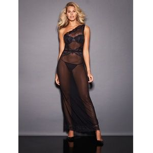 Fredericks Hollywood Black Lace Gown Lingerie
